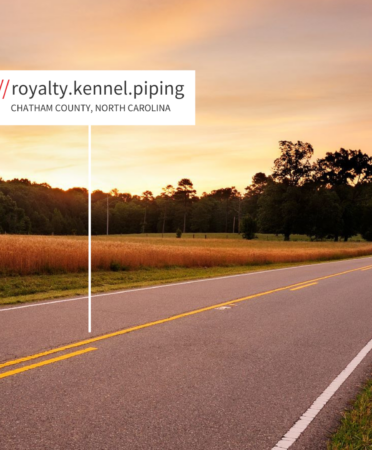 Open road, with fields to the left and green grass/pasture to the right. Sign for what3words marking the location: royalty.kennel.piping